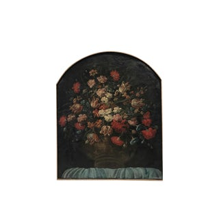 Mid 19th Century Antique Floral Still Life Arch Top Framed Oil Painting For Sale