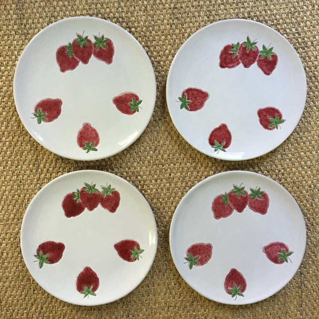 Italian Strawberry Motif Plates - Set of Four For Sale - Image 6 of 7