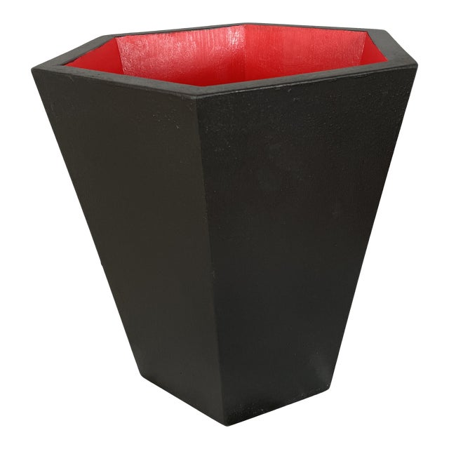 Modern Black With Red Interior Hexagonal Wooden Waste Basket Rubbish Bin by Irwin and Lane For Sale