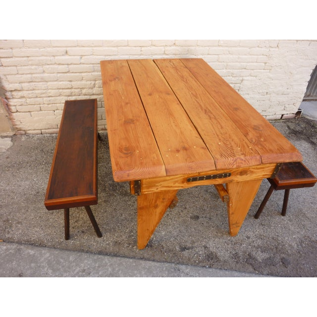 Shajan Table And Two Benches - Image 6 of 6