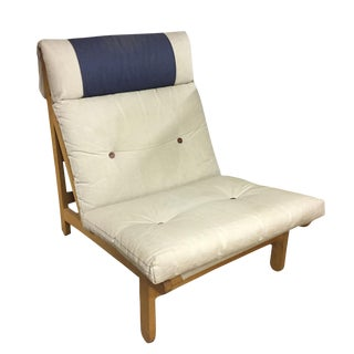 Mid-Century Modern Wood Frame & Canvas Lounge Chair For Sale