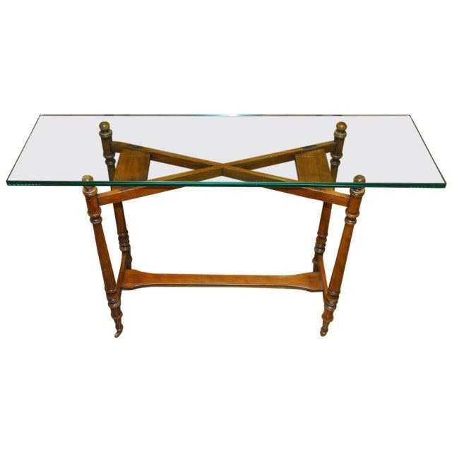 Henredon Glass Top Console - Image 1 of 7