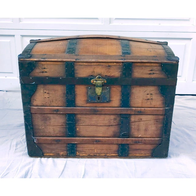 Black 1850's Gothic Rounded Top Wooden Trunk For Sale - Image 8 of 8