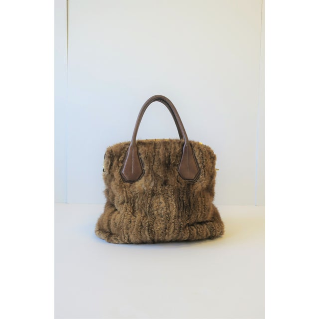 Tod's Brown Leather, Mink and Brass Handbag For Sale - Image 13 of 13
