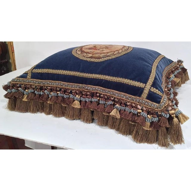 Late 19th Century French Custom Blue Velvet Pillow Handmade With 18th Century Aubusson Tapestry, Trims and Tassels For Sale - Image 5 of 10