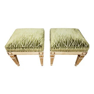 Bunny Williams Cut Velvet Fabric Upholstered Stools - A Pair