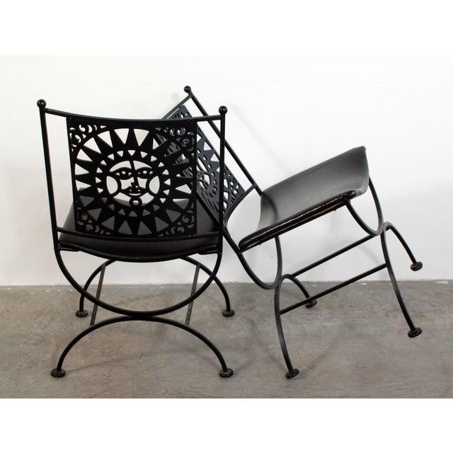 1950s Mid Century Modern Arthur Umanoff Mayan Sun Cast Iron Chairs - a Pair For Sale - Image 9 of 13
