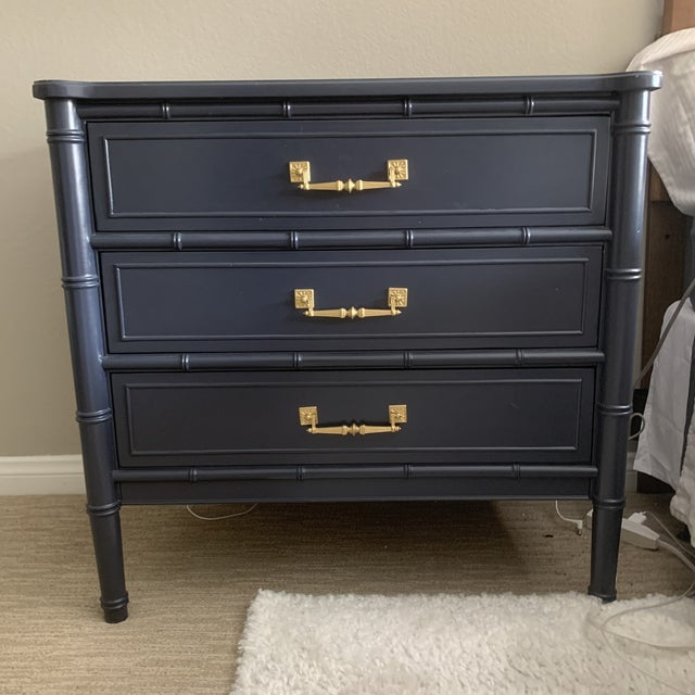 Vintage regency 3 drawer Henry Link Bali Hai dresser nightstand faux bamboo chest. Custom painted with original hardware.