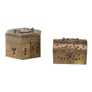 Vintage Chinoiserie Brass Boxes - Set of 2 For Sale