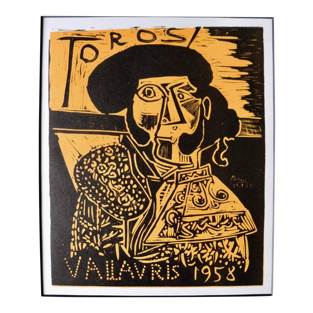 Mid-Century Expressionist Lithograph of a Woodcut by Pablo Picasso for Vallauris, 1958 For Sale
