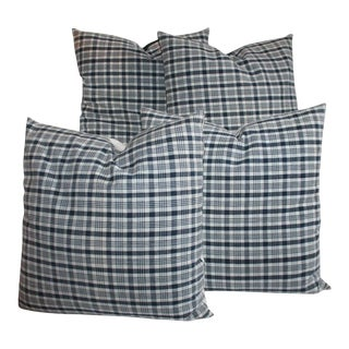 19th Century Homespun Linen Blue and White Pillows- 4 Pieces For Sale