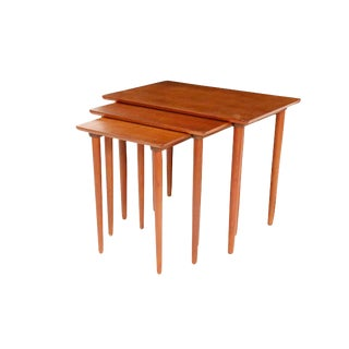 1960s Mid Century Danish Teak Nesting Tables - Set of 3 For Sale