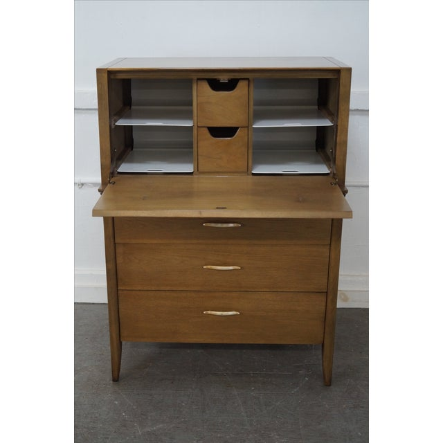 Walnut Drexel Profile Mid-Century Walnut Tall Chest For Sale - Image 7 of 10