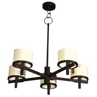 Customizable Paul Marra Five Arm Silk Drum Chandelier For Sale