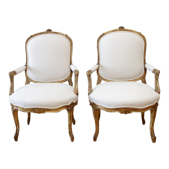 19th Century Carved Giltwood French Louis XV Style Open Arm Chairs For Sale