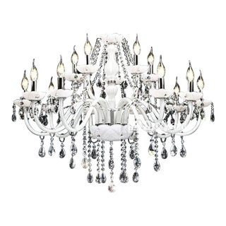 Early 21st Century Vintage White Crystal Chandelier For Sale