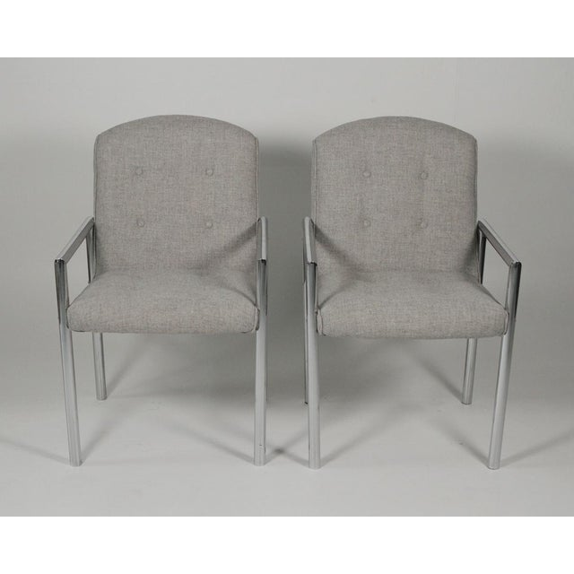 Chrome 1970s Mid-Century Modern Grey Linen Chrome Tube Armchairs - a Pair For Sale - Image 7 of 10
