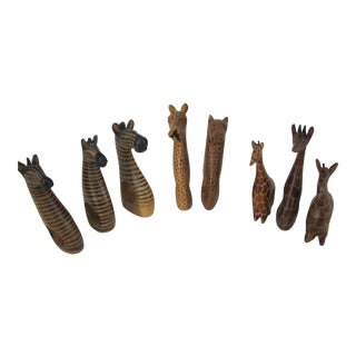 Carved African Animal Napkin Rings-8 Pieces