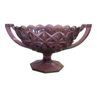 Amethyst Pressed Glass Pedestal Bowl - Circa 1895 For Sale