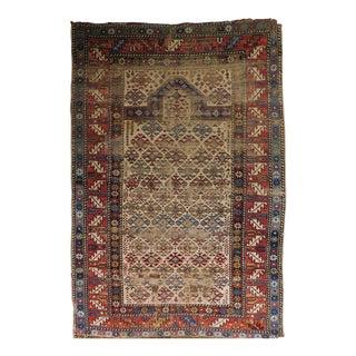 Distressed Antique Caucasian Prayer Rug For Sale