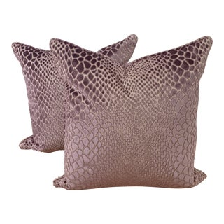 "Kravet Couture Lavender Animal Skin Raised Velvet 22"" Pillows - a Pair For Sale"