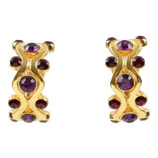 Yves Saint Laurent Ysl Paris Clip Earrings Gilt Metal Purple Red Rhinestones For Sale