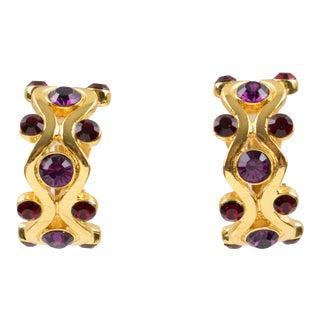 Yves Saint Laurent Ysl Paris Clip Earrings Gilt Metal Purple Red Rhinestones For Sale