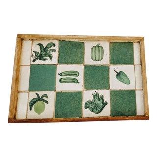 Mid 20th Century Italian Fruit Veggie Tile Tray For Sale
