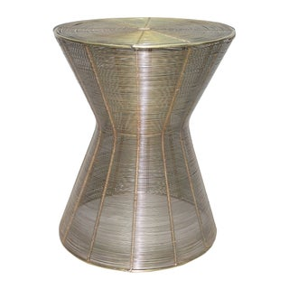 Iron Wire Stool With Antique Brass Finish