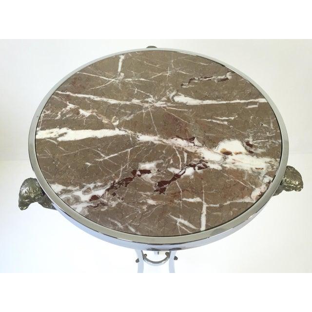 Italian Regency Steel & Marble Rams Head Pedestal - Image 5 of 8