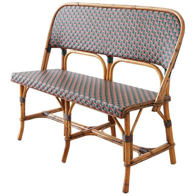 French Maison Gatti Rattan Bamboo Banquette Settee For Sale - Image 13 of 13