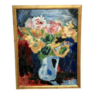 French Pierre Ambrogiani Floral Still Life Painting For Sale