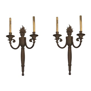 Bronze French Flame Torche Sconces - a Pair For Sale