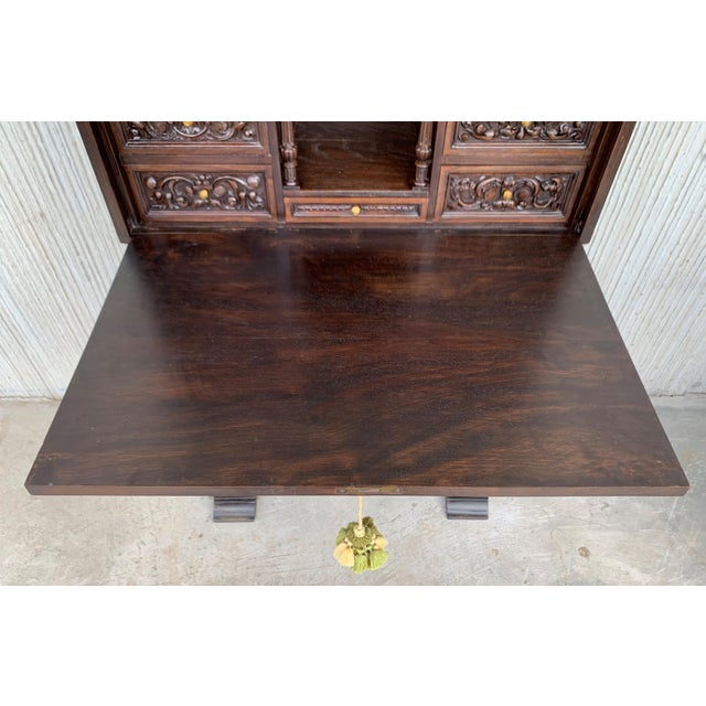 18th Spanish Bargueno of Columns With Foot Bridge, Cabinet on Stand For Sale - Image 9 of 13