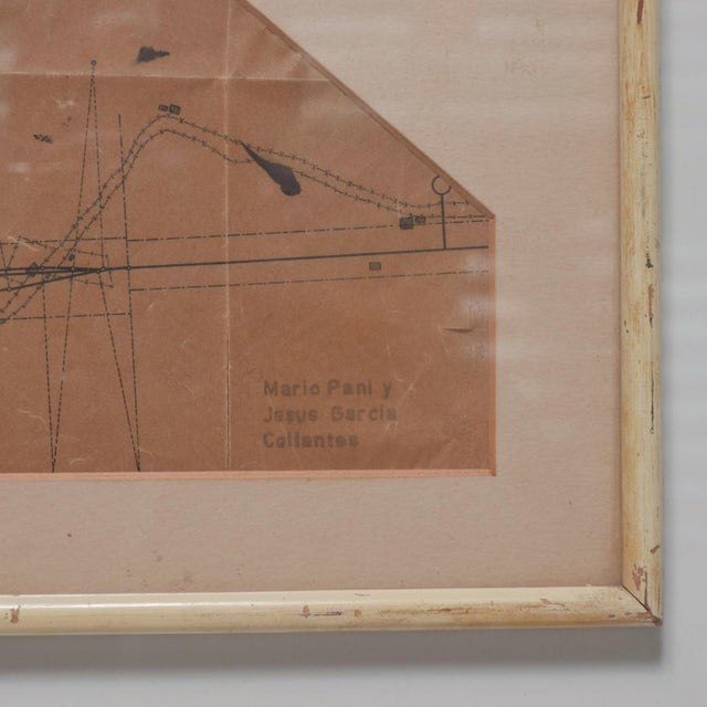 Beige Art Architectural Sketch by Mario Pani and Jesus Garcia Collantes 1947 For Sale - Image 8 of 11