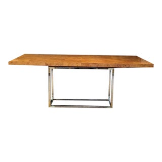 """Jonathan Adler """"Bond"""" Burl Wood and Polished Nickel and Brass Dining Table For Sale"""