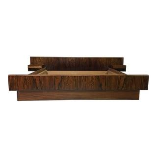 Kingsize Rosewood Platform Bed With Floating Nightstands For Sale