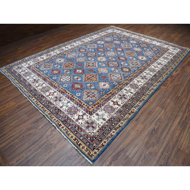 Shahbanu Rugs Hand Knotted Blue Kazak Wool Rug For Sale - Image 4 of 13