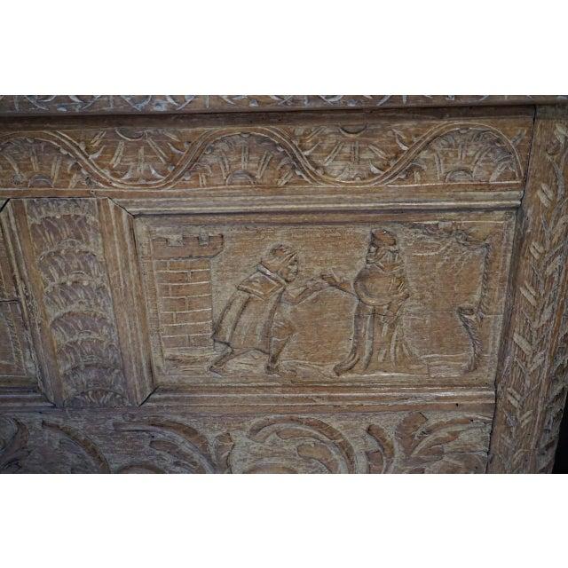 Figurative Antique Carved Oak Flemish Coffer Blanket Trunk For Sale - Image 3 of 12