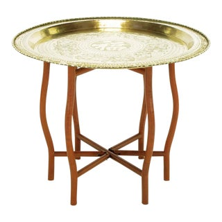 Asian Engraved Brass Charger Folding Tray Table For Sale