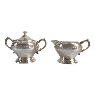 English Silver Plate on Copper Sugar Bowl and Creamer - Set of 2 For Sale
