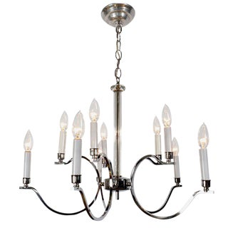 Elegant Chrome & Glass Modernist Chandelier For Sale