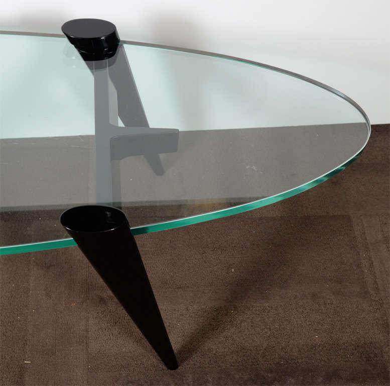 Mid Century Modern Surfboard Coffee Table With Tapered Ebony Legs   Image 8  Of 8