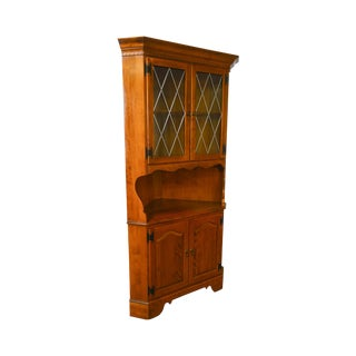 Ethan Allen Vintage Maple Leaded Glass Corner Cabinet For Sale
