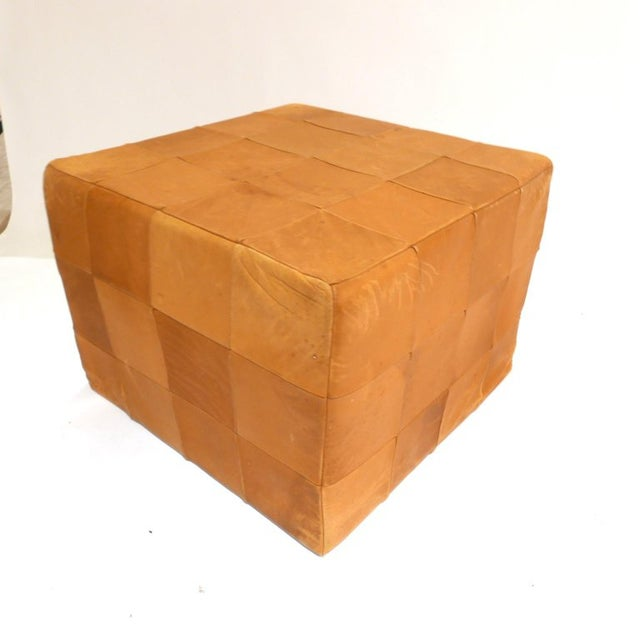 Mid-Century Modern De Sede Patchwork Cube or Ottoman in Beautiful Patinated Cognac Leather For Sale - Image 3 of 7