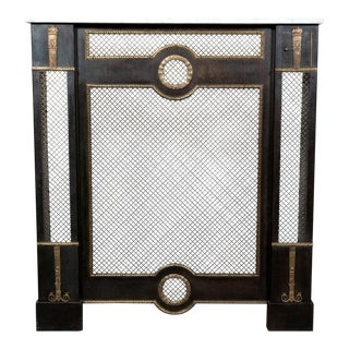 French Louis XVI Style Wrought Iron Radiator Cover or Console With Marble Top For Sale