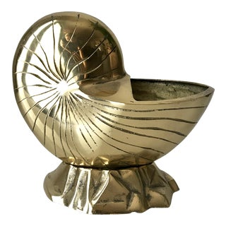 Vintage Nautilus Solid Brass Shell Vessel Planter For Sale
