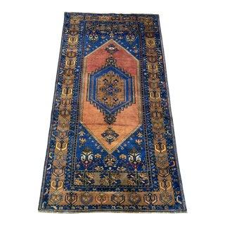 1970s Vintage Turkish Orange & Blue Rug - 4′2″ × 7′8″ For Sale