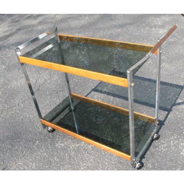 Contemporary Vintage Mid-Century Modern Rolling Serving Bar Chrome Teak Glass Cart For Sale - Image 3 of 5