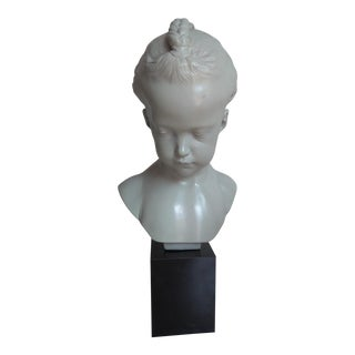 """1978 Austin Productions Sculpture """"Bust of a Young Girl"""" Girl With Braids For Sale"""